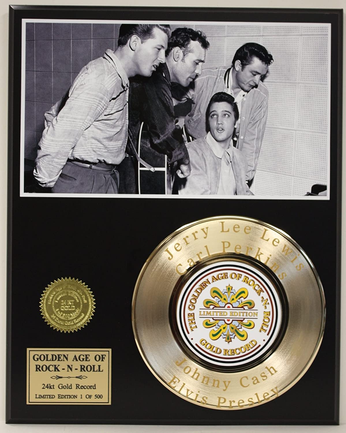 Million Dallor Quartet Laser Etched With the names Carl Perkins, Elvis Presley, Jerry Lee Lewis and Johnny Cash Limited Edition Gold Record Display Gold Record Outlet