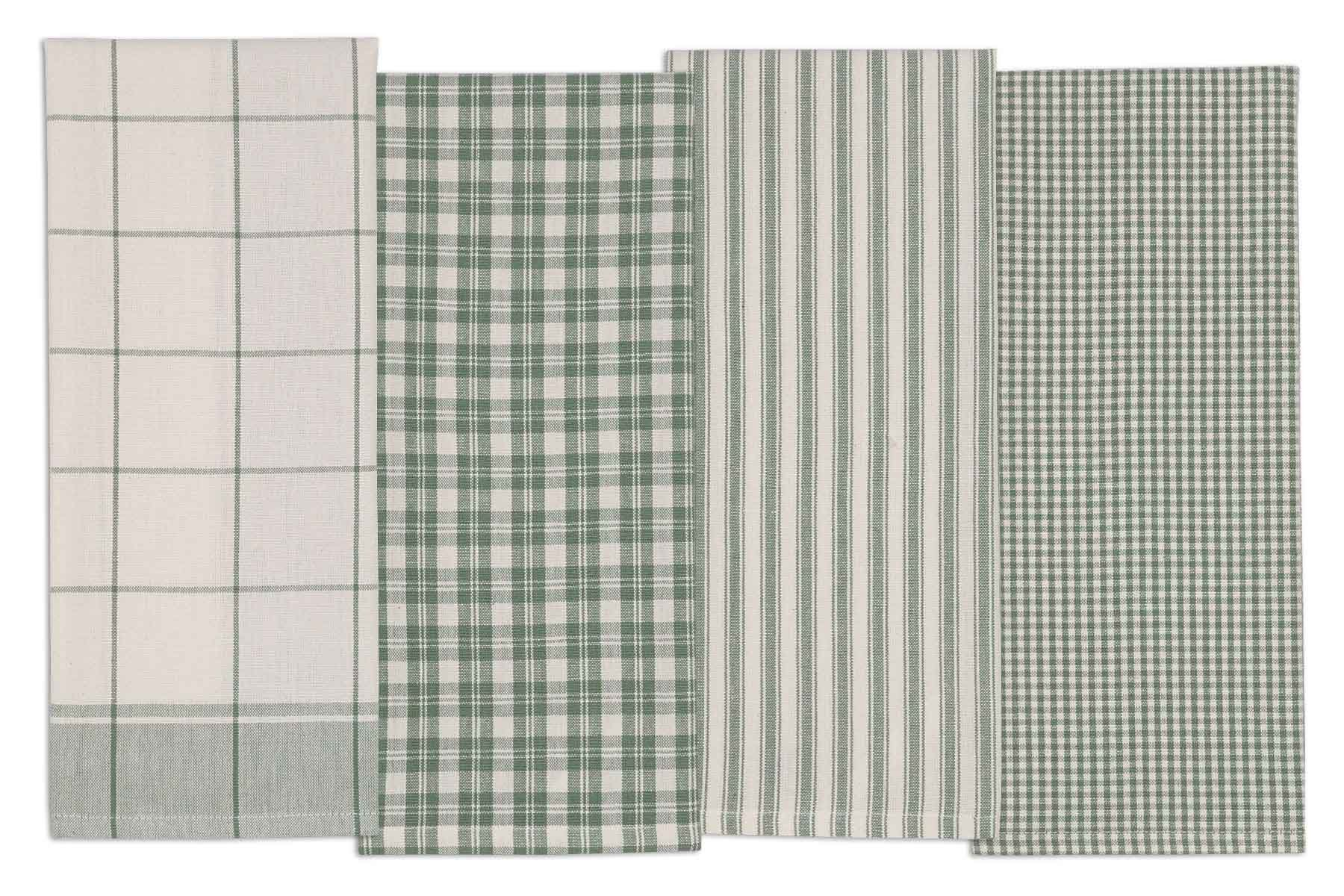 DII COSD35161 Cotton Dish, Set of 4, Decorative Oversized Towels, Perfect for Every Day Home Kitchen, Holidays and Housewarming Gifts, 18x28, Sage