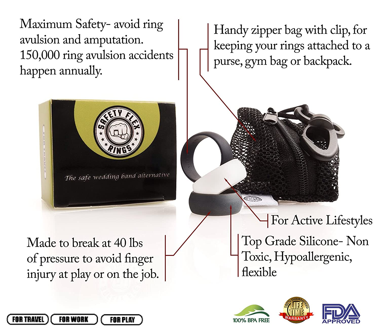Amazon SafetyFlex Men s Silicone Wedding Rings Set of 3