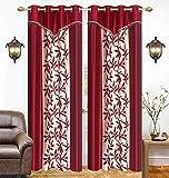 Galaxy Home Decor Eyelet Polyester Curtains for Door 7 Feet, Maroon, Set of 2 (2, Door 7 Feet)