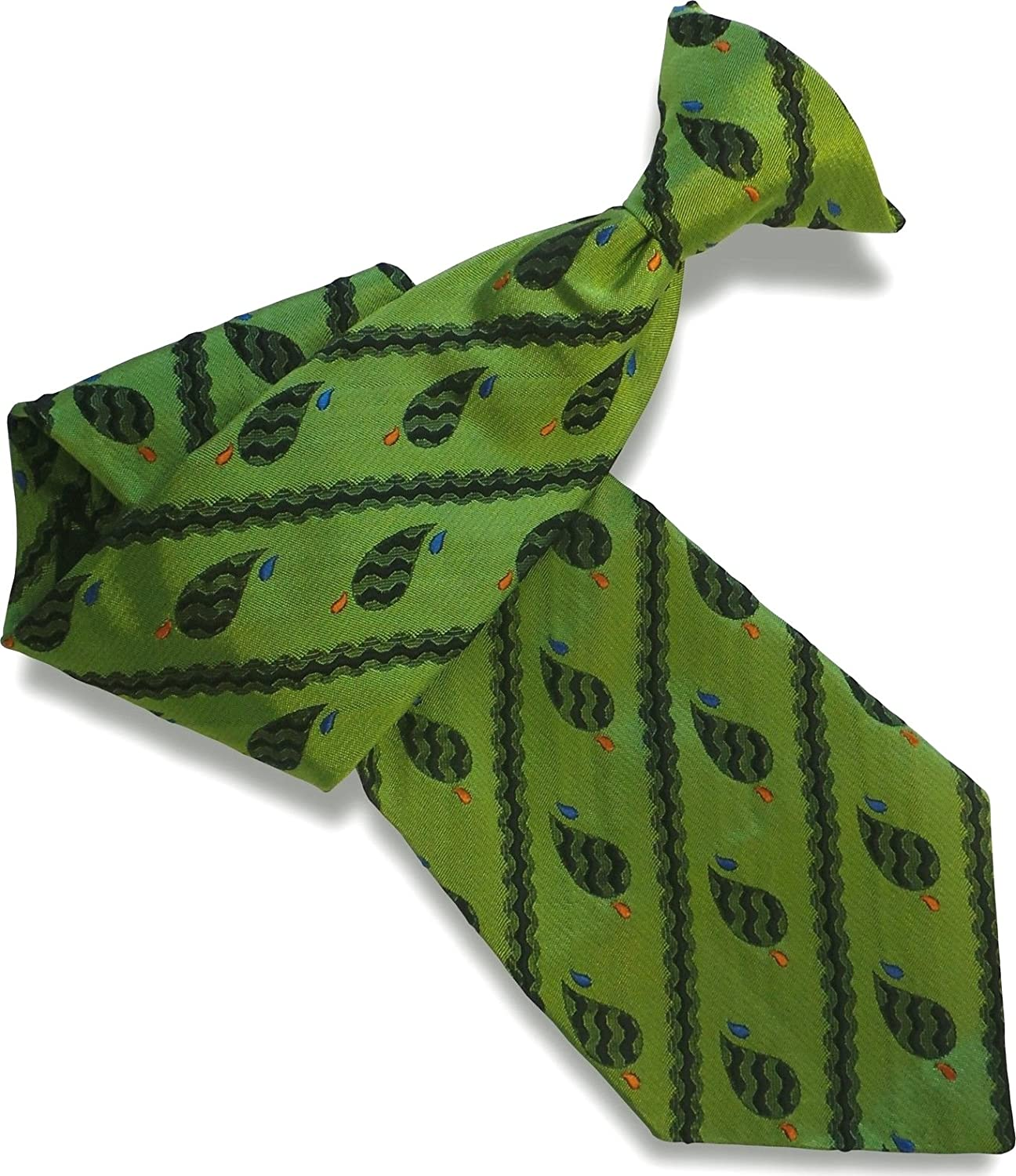 Men's Silk Clip On Tie - Green with Black Paisley & Stripes