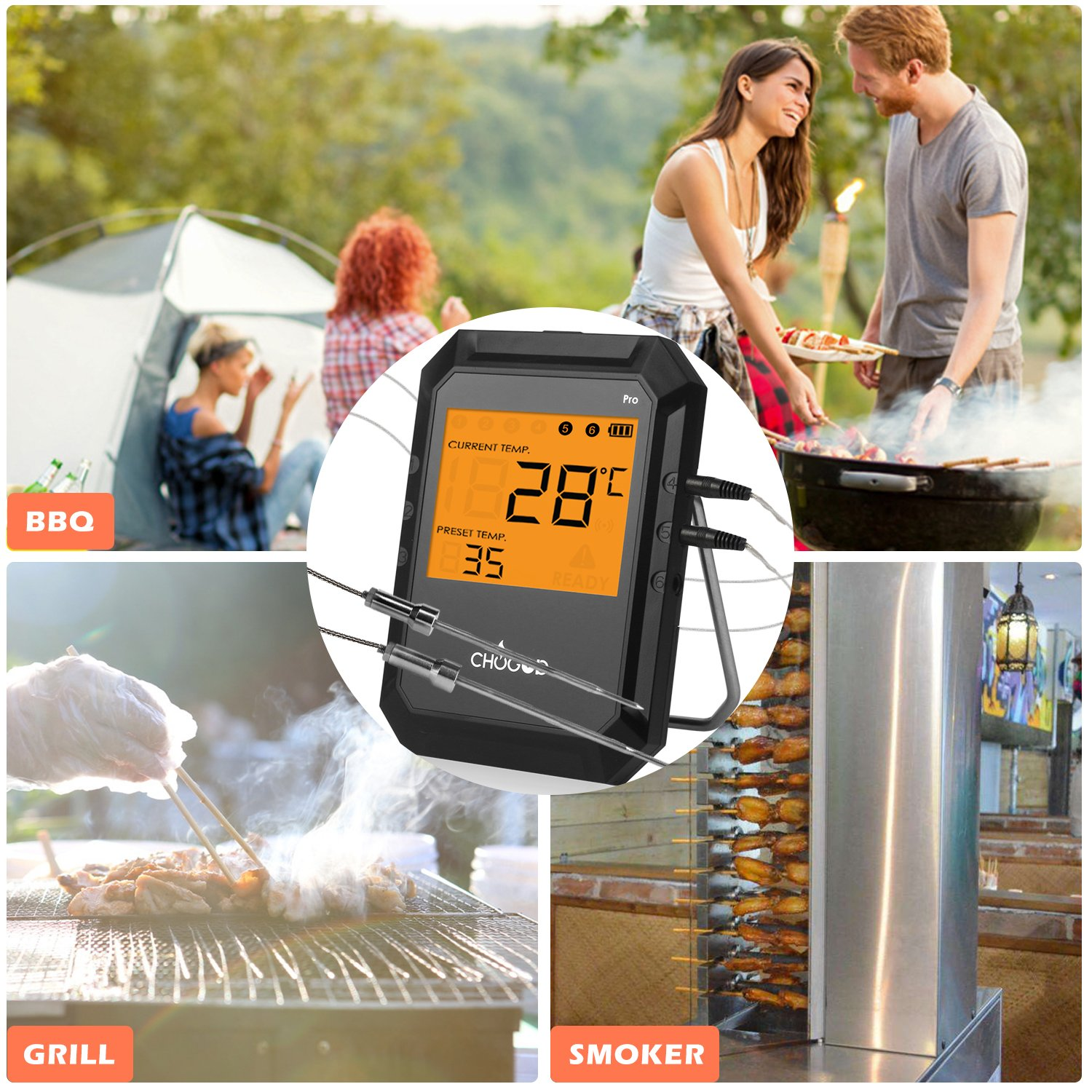 4 Pack Stainless Steel and Waterproof probes for Wireless BBQ//Oven Thermometers Digital Thermometer Probes uvistare Replacement Temperature Probes