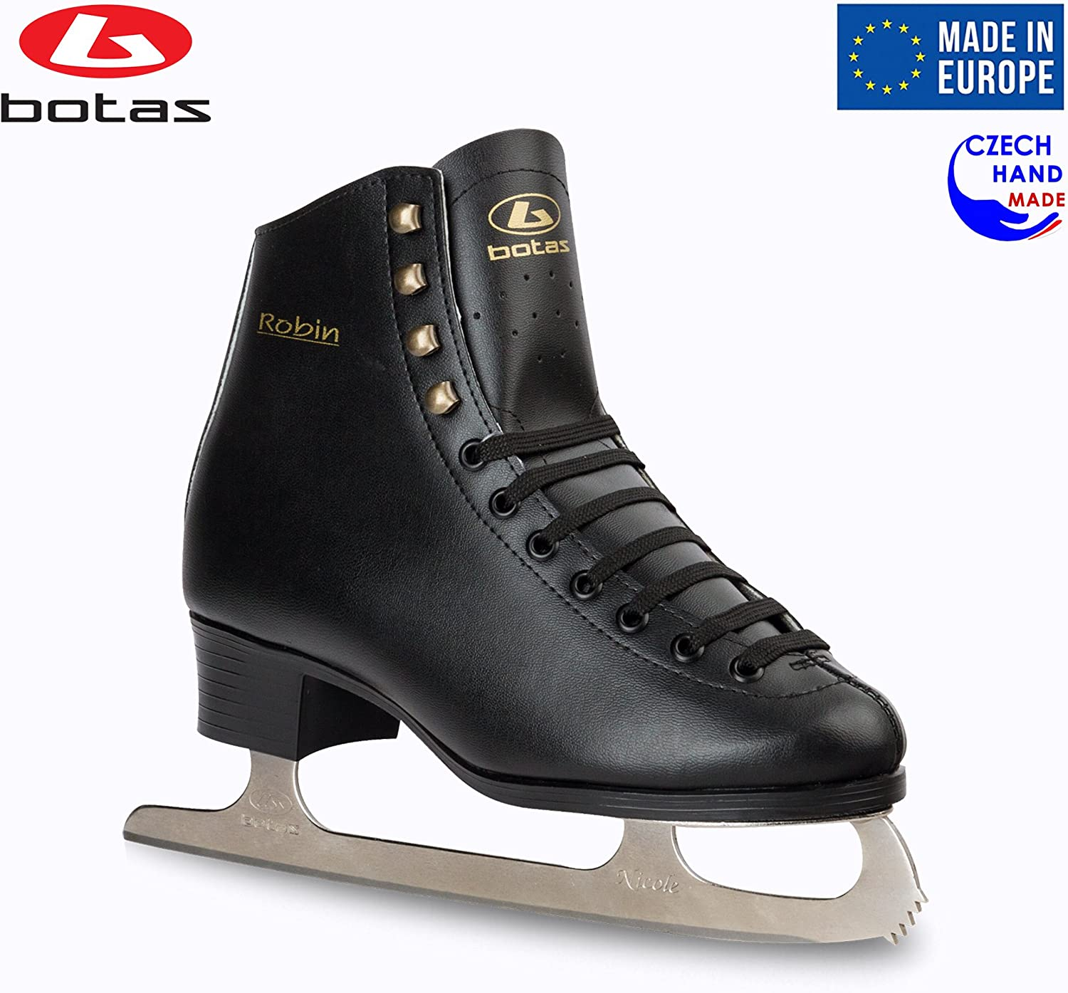 Botas - Model: Robin/Made in Europe (Czech Republic) / Figure Ice Skates for Men, Boys/Color: Black