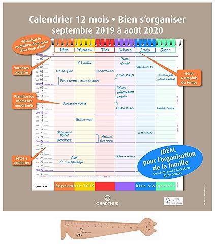 Calendrier Du Mois D Aout 2020.Lot Calendrier Familial 2019 2020 Bien S Organiser D Oberthur 1 Regle Marque Page En Bois Blumie