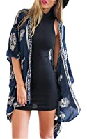 Zeagoo Mode Damen drucken Kimono Cardigan Bluse Tops Strandkleid Bikini Cover Up