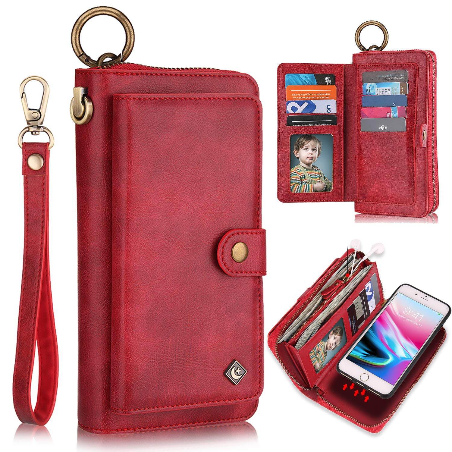 XRPow Wallet Case iPhone 8 Plus/iPhone 7 Plus 5.5'' [2 in 1] Magnetic Detachable Wallet Case [Vegan Leather] Zipper Clutch Folio Flip Card Solt [Wrist Strap] Purse Protection Back Cover - Red by XRPow