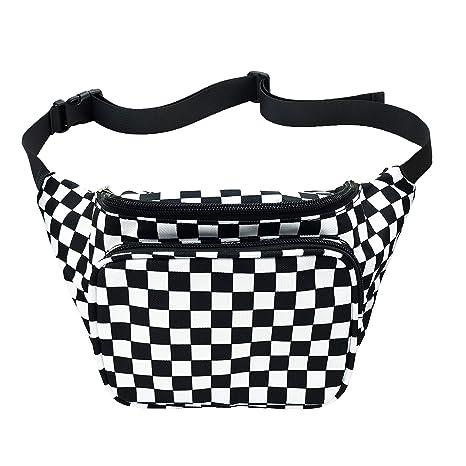 f7757cc68bf1a WODODO Black and White Checker Print Fanny Pack Pocket Festival Classic  Styles Cellphone Bag