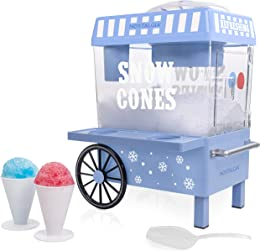 Nostalgia SCM525BL Vintage Countertop Snow Cone Maker Makes 20 Icy Treats, Includes 2 Reusable Plastic Cups & Ice Scoop – Blue