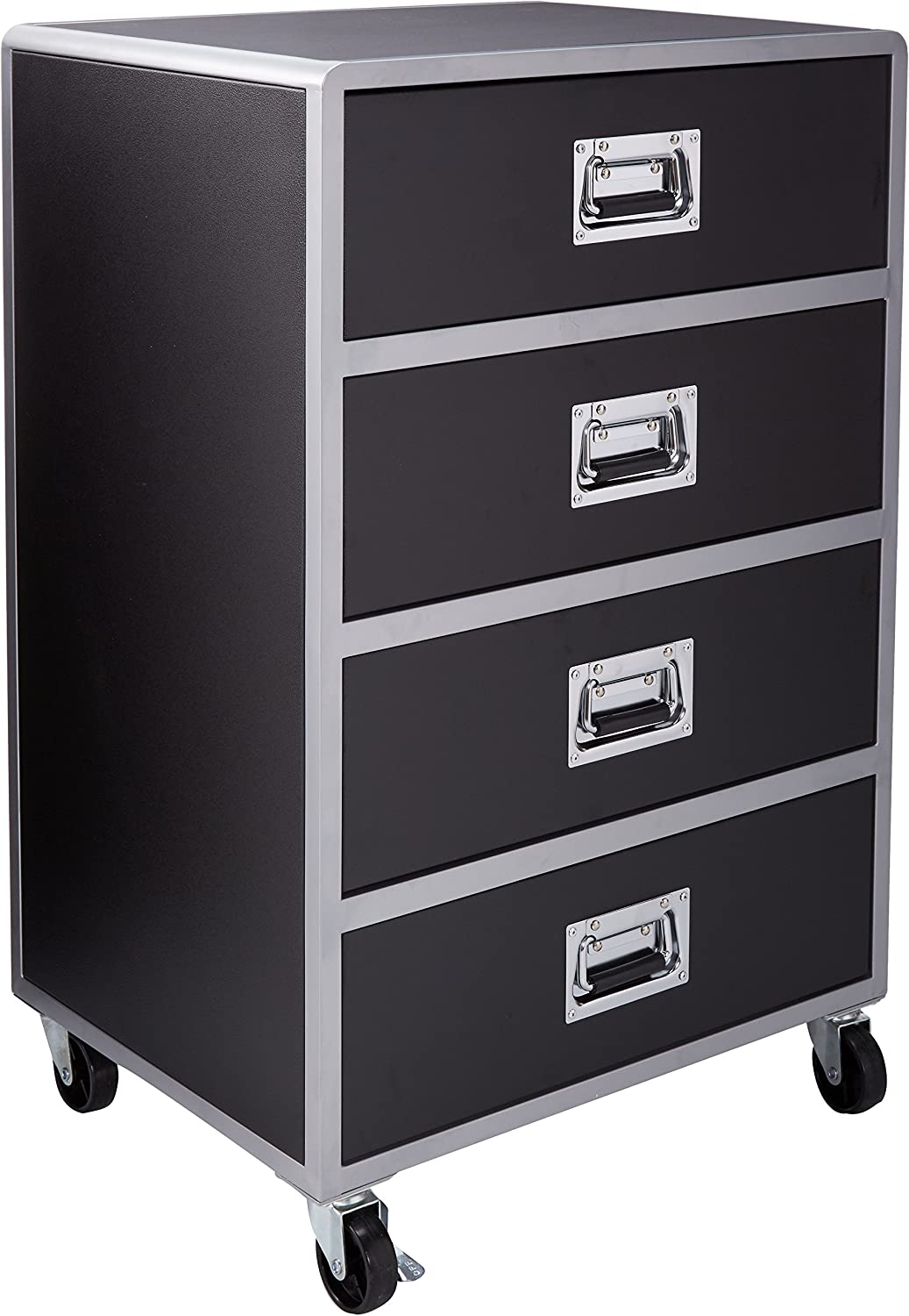 Leclair 4 Drawer Chest With Casters Black And Silver Furniture Decor