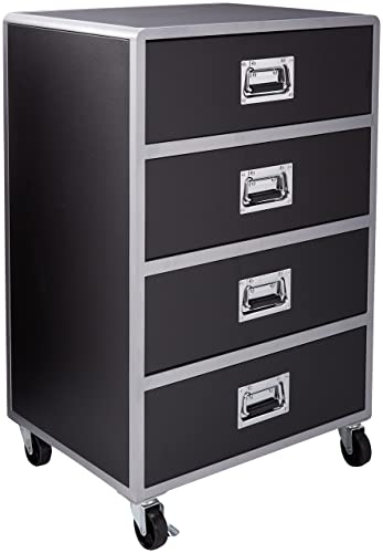 LeClair 4-Drawer Chest with Casters Black and Silver