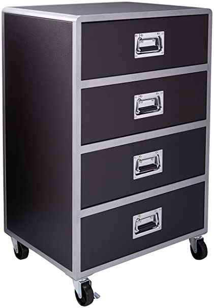 Amazoncom Leclair 4 Drawer Chest With Casters Black And Silver