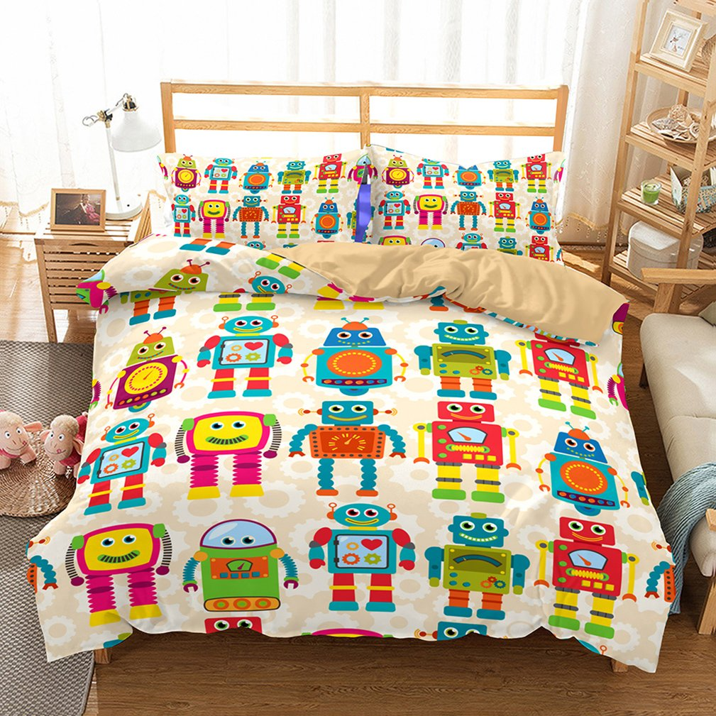 APJJQ Robot Print 3 Pieces Kids Boys Duvet Cover Queen Blue,100% Brushed Microfiber 2018 New Cartoon Bedding Sets Full Duvet Cover for Teen Toddlers Zipper Closure,No Comforter