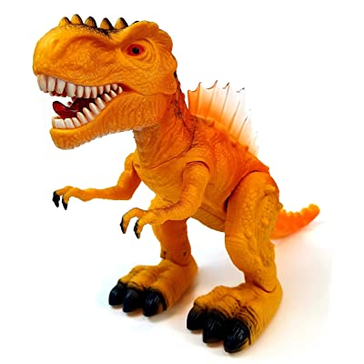 Vabliss T-Rex Electronic Light Up Dinosaur with Flashing Lights and Realistic Animal Sounds Orange: Toys & Games