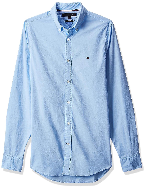 Tommy Hilfiger Core Stretch Slim Oxford Shirt Camicia, Blu Blue 474, Large Uomo