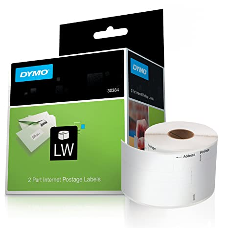 DYMO LW 2-Part Internet Postage Labels for LabelWriter Label Printers,  White, 2-1/4'' x 7-1/2'', 1 roll of 150 (30384)