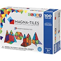 100-Piece Magna-Tiles Clear Colors 3D Magnetic Building Toy Set