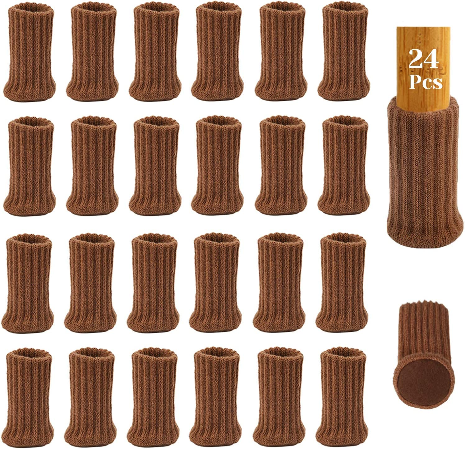 24Pcs Chair Leg Socks with Felt Pads, AUHOKY High Elastic Knitted Furniture Booties with Double Layered, Non-Slip Thick Floor Protectors Covers Pads Caps Set - Avoid Scratches & Noise (Brown)