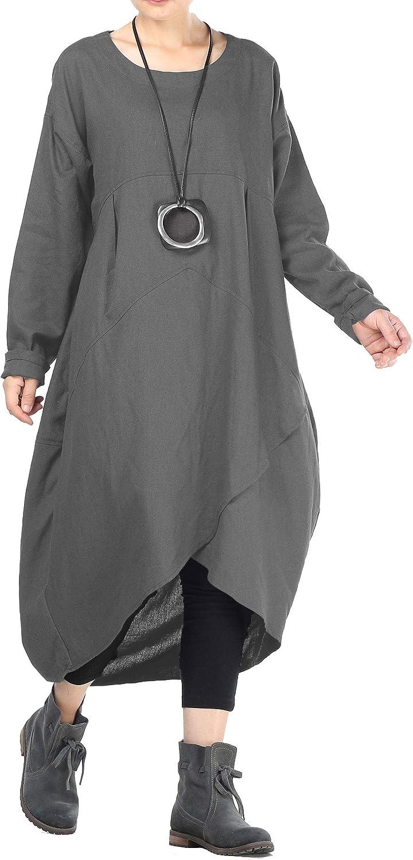Mordenmiss Women's Cotton Linen Dresses Fall Irregular Hem Shirt Dress with Pockets