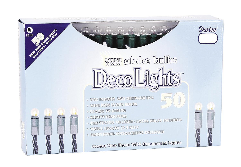 Darice LT505 1 Clear 50 Mini Globe Light Set with Green Cord
