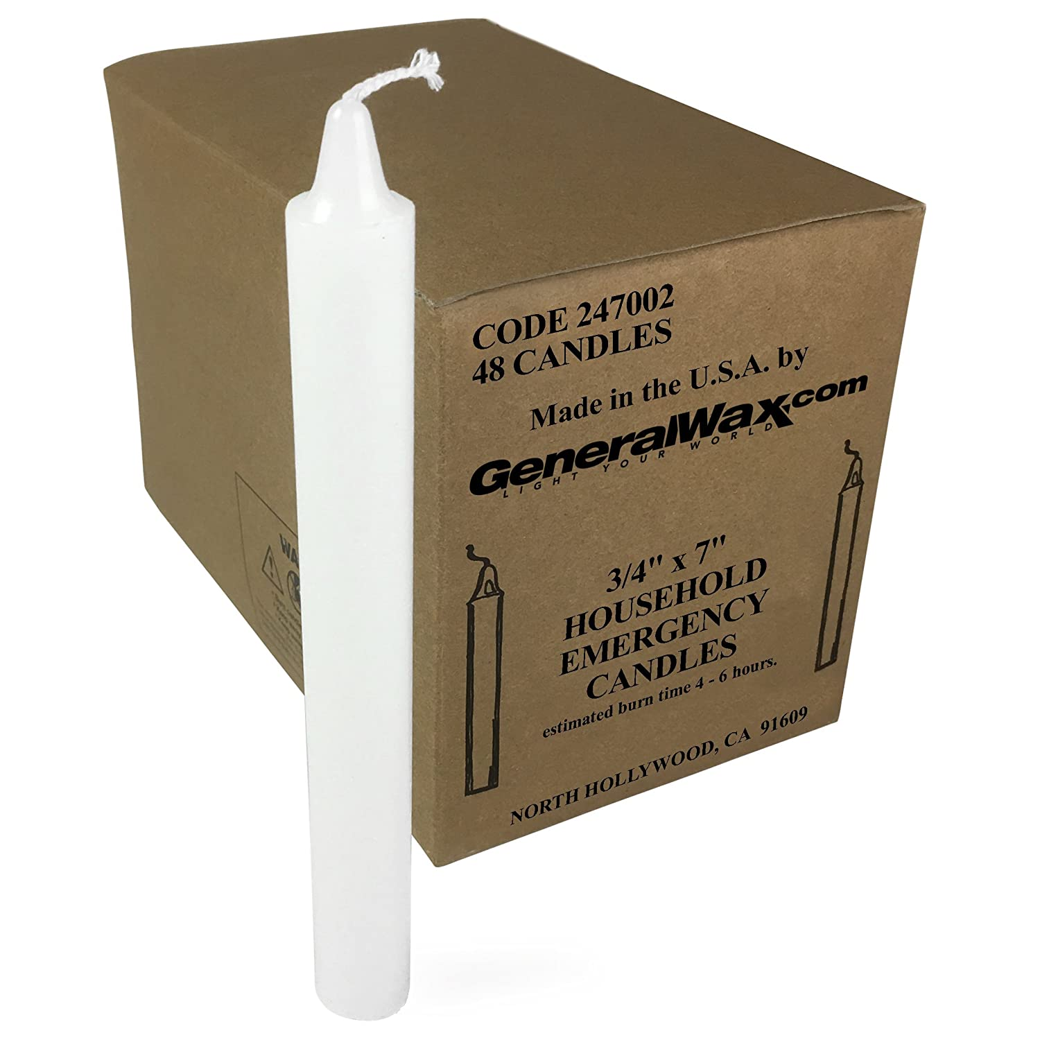 Long White Household Candles Unscented (Box of 48). Perfect for Church Ceremonies and emergency use. Made in U.S.A.