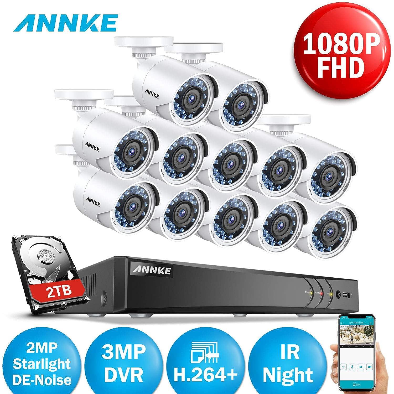 ANNKE Kit de Seguridad 3MP H.264+ DVR 16+2 Canal y 12 Cámaras CCTV de Luz estelar videovigilancia para hogar y negocio -2TB HDD: Amazon.es: Bricolaje y ...