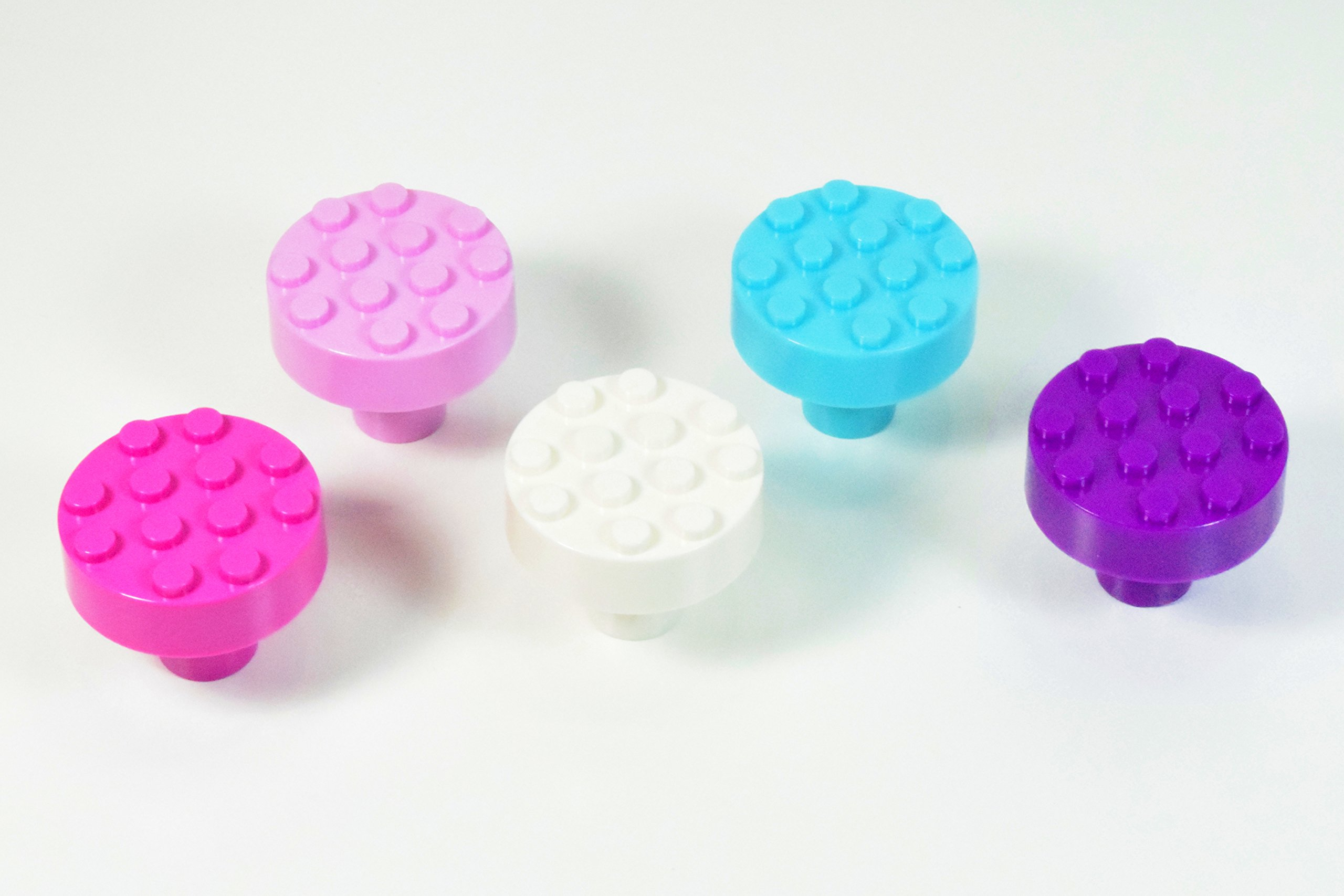 Set of 5 Build-On Brick Knobs (Gem Assorted - Hot Pink, Pink, Purple, White, Turquoise)