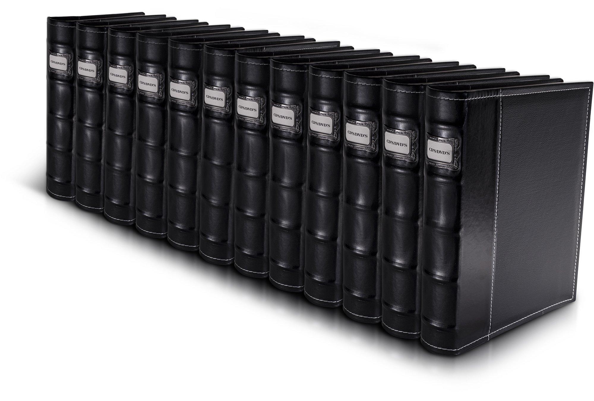 Bellagio-italia Black CD DVD Storage Binders 12 Pack