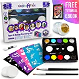 Face Painting Kit for Kids - 32 Stencils, 8 Water Based Face Paint Colors, 2 Brushes, 2 Glitters, 2 Sponges & 2…