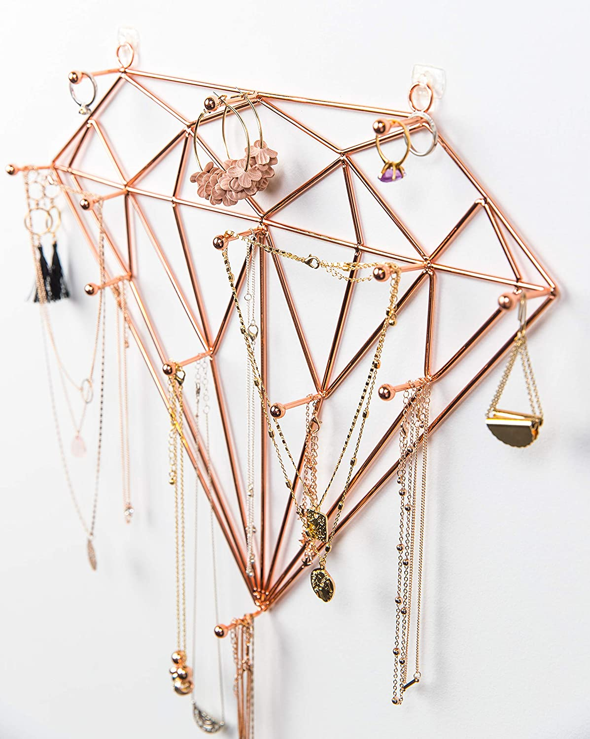 Ruby Mae Jewelry Wall Organizer | Diamond Rose Gold Jewelry Organizer for Necklaces, Bracelets, Earrings, Rings | Necklace Organizer with Large Jewelry Hooks | Hanging Jewelry Organizer Wall Mounted