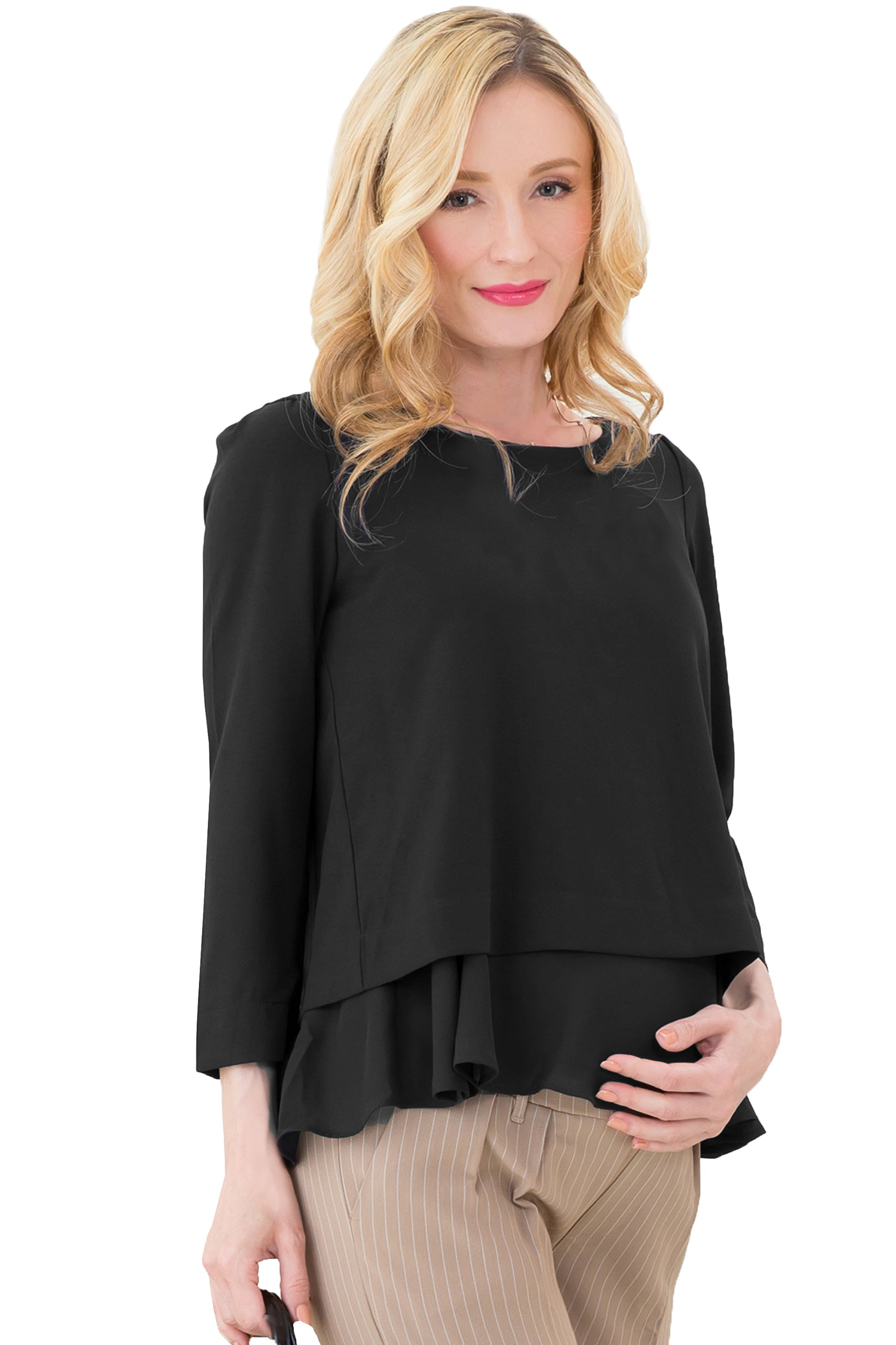 Sweet Mommy Maternity and Nursing Layered Georgette Top Blouse with Chiffon Hem Black M