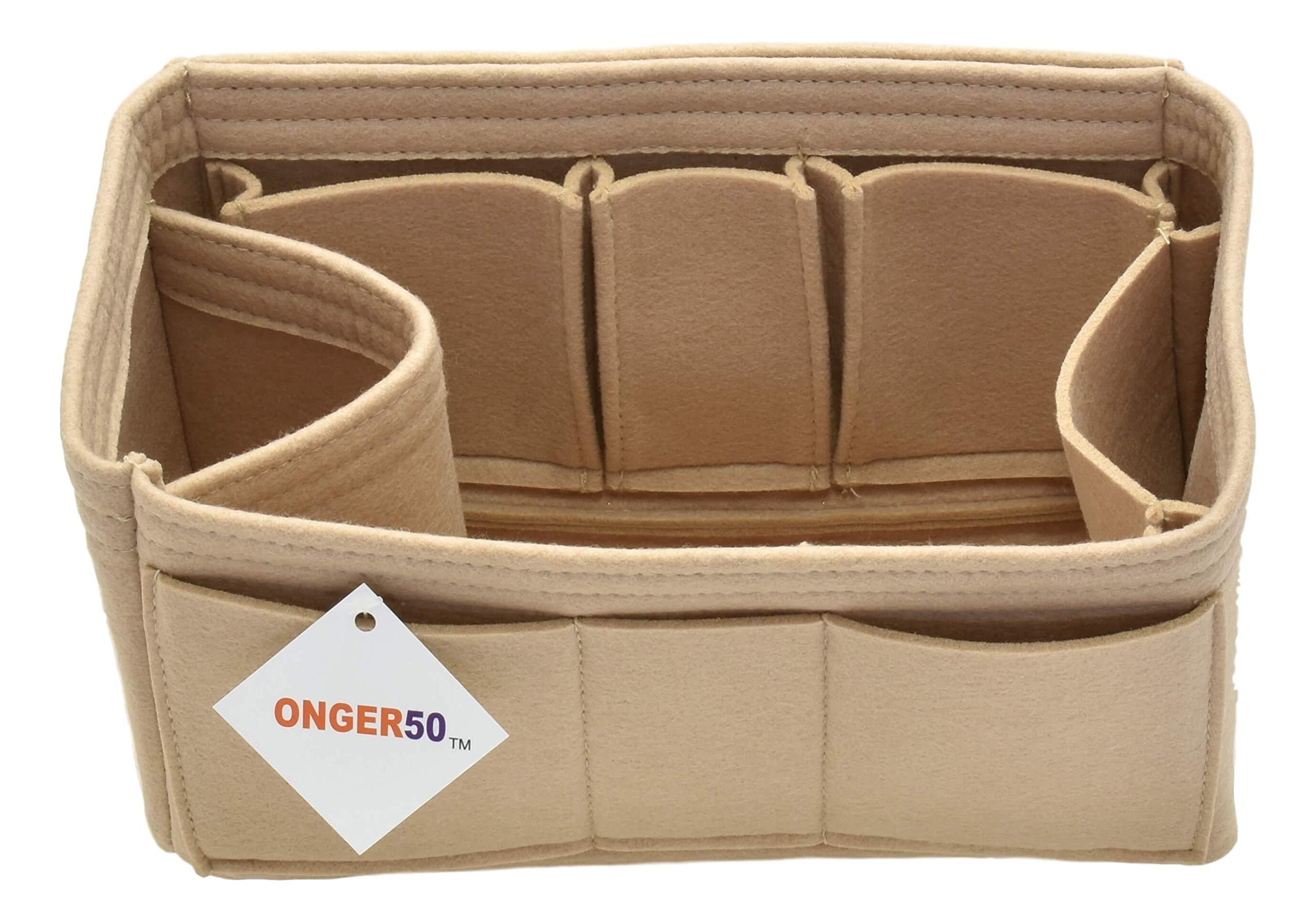 Purse Organizer Insert - Felt Handbag Tote Storage Organizer (Small, Beige)