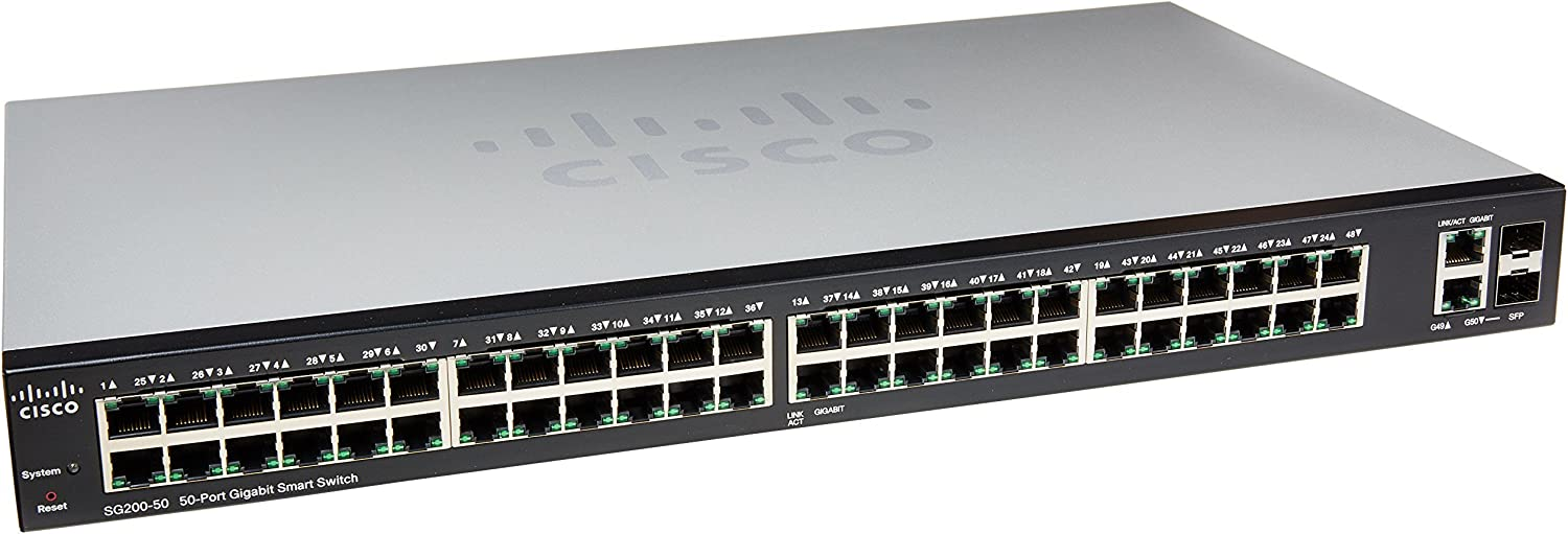 2-Foot CAT6 Cables 10 Count Cisco SF250-48 48-Port 10//100 Smart Switch Essential Accessories