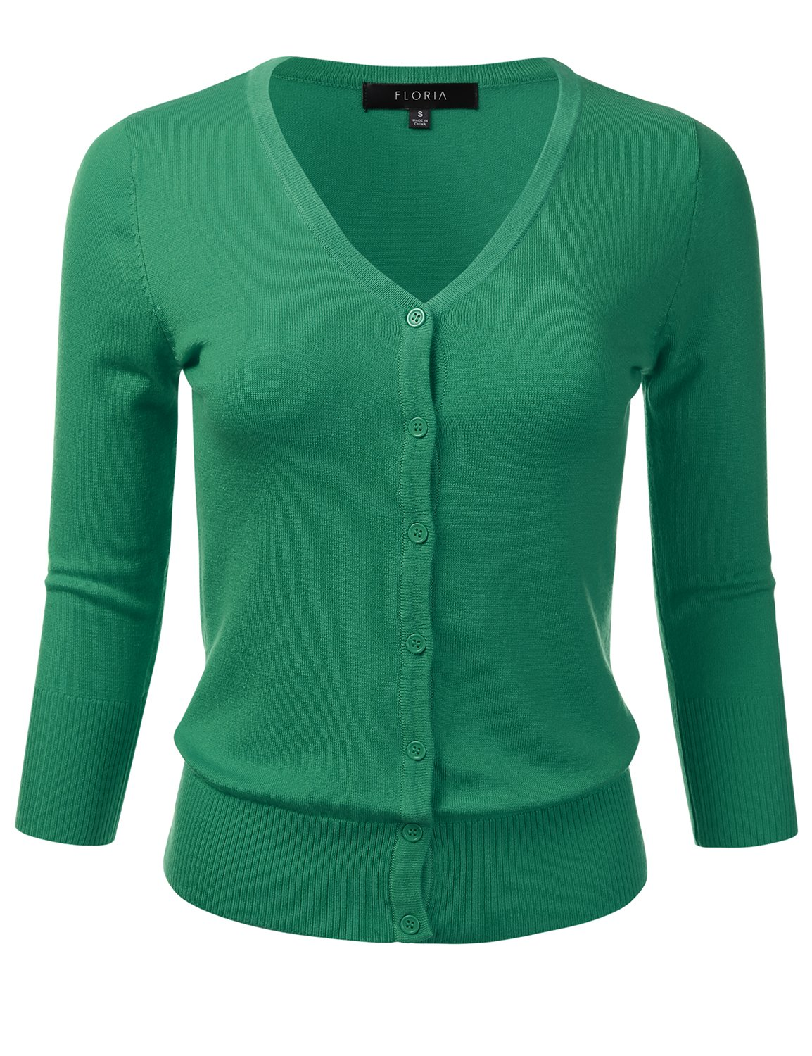 FLORIA Womens Button Down 3/4 Sleeve V-Neck Stretch Knit Cardigan Sweater KellyGreen L