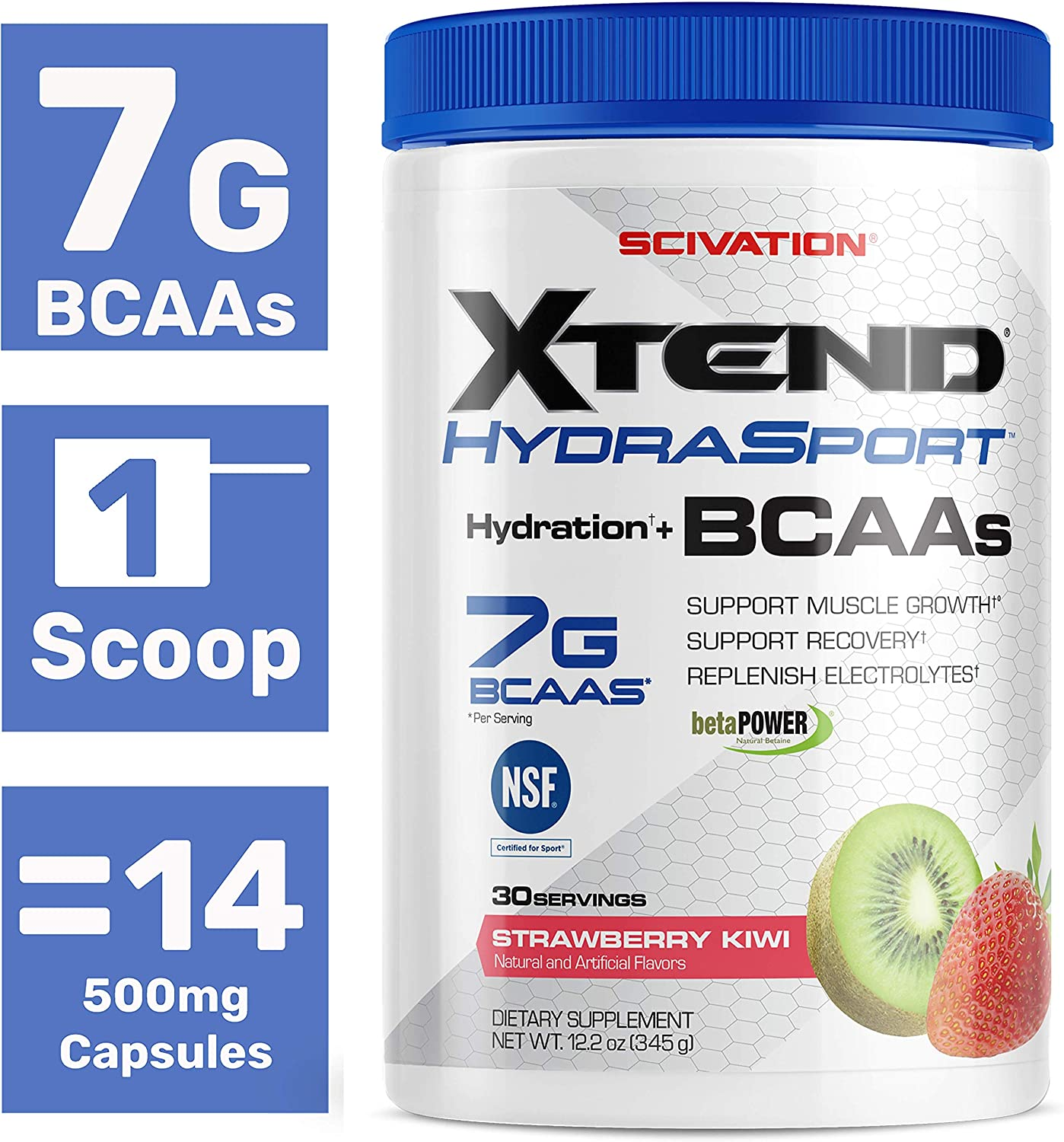 Scivation XTEND Sport BCAA Powder Strawberry Kiwi | NSF Certified for Sport + Sugar Free Post Workout Muscle Recovery Drink with Amino Acids |30 Servings | Packaging May Vary