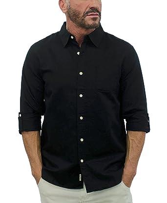 b51e3a3550f Amazon.com  Short Fin Men s Long Sleeve Linen Shirt