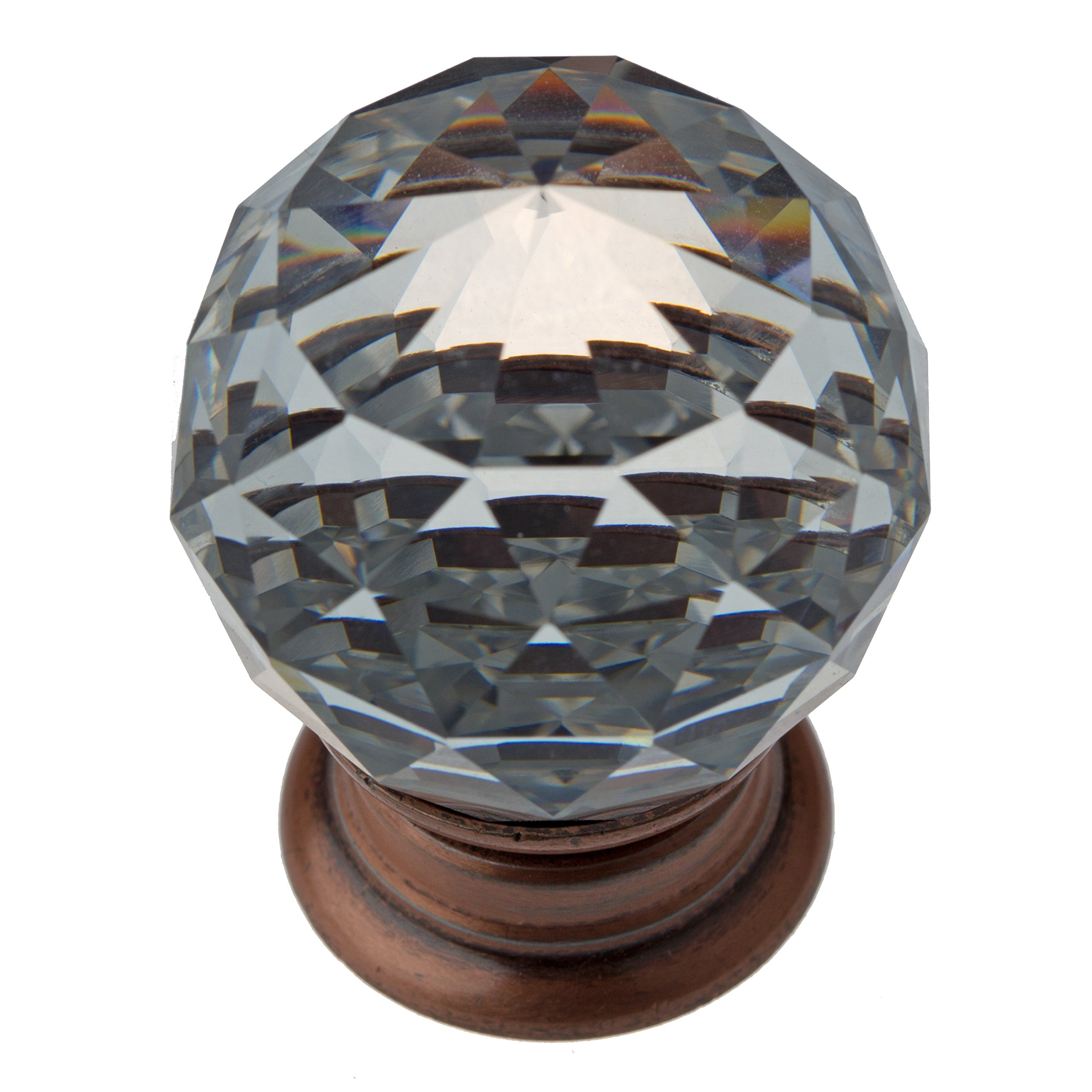 GlideRite Hardware 9003-ORB-30-10 Clear Small K9 Crystal with Oil Rubbed Bronze Base Cabinet Knobs 10 Pack