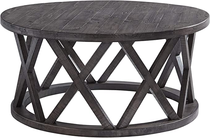 Signature Design by Ashley Zannory .1 Pack Oval Cocktail Table Gray