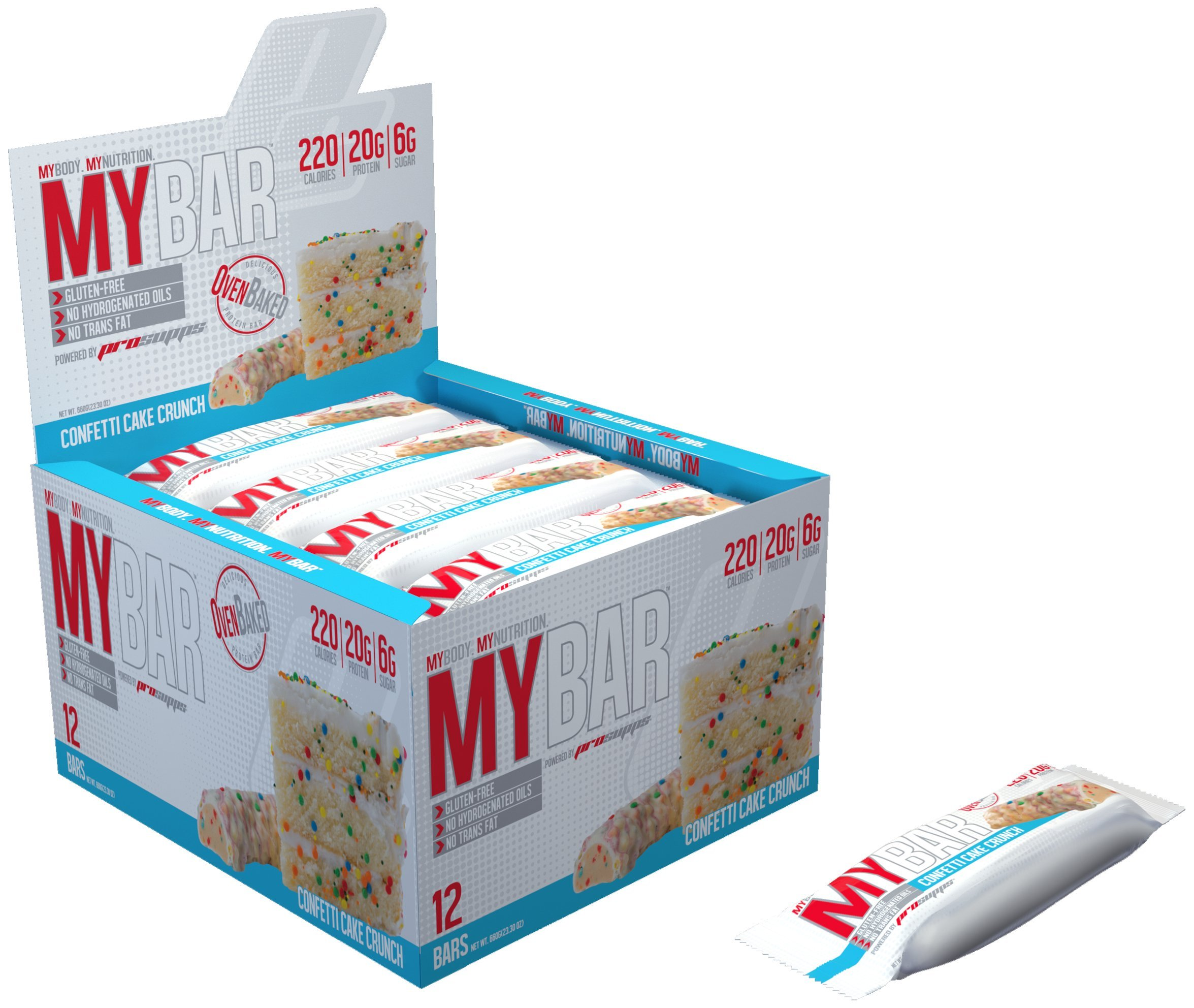 Pro Supps MYBAR Delicious Oven Baked Protein Bar (Confetti Cake Crunch), 20g Protein, Only 6g Sugar, Gluten-free, No Trans Fat, Healthy on-the-go Snack. 12 Count, Net WT 1.94 ounces