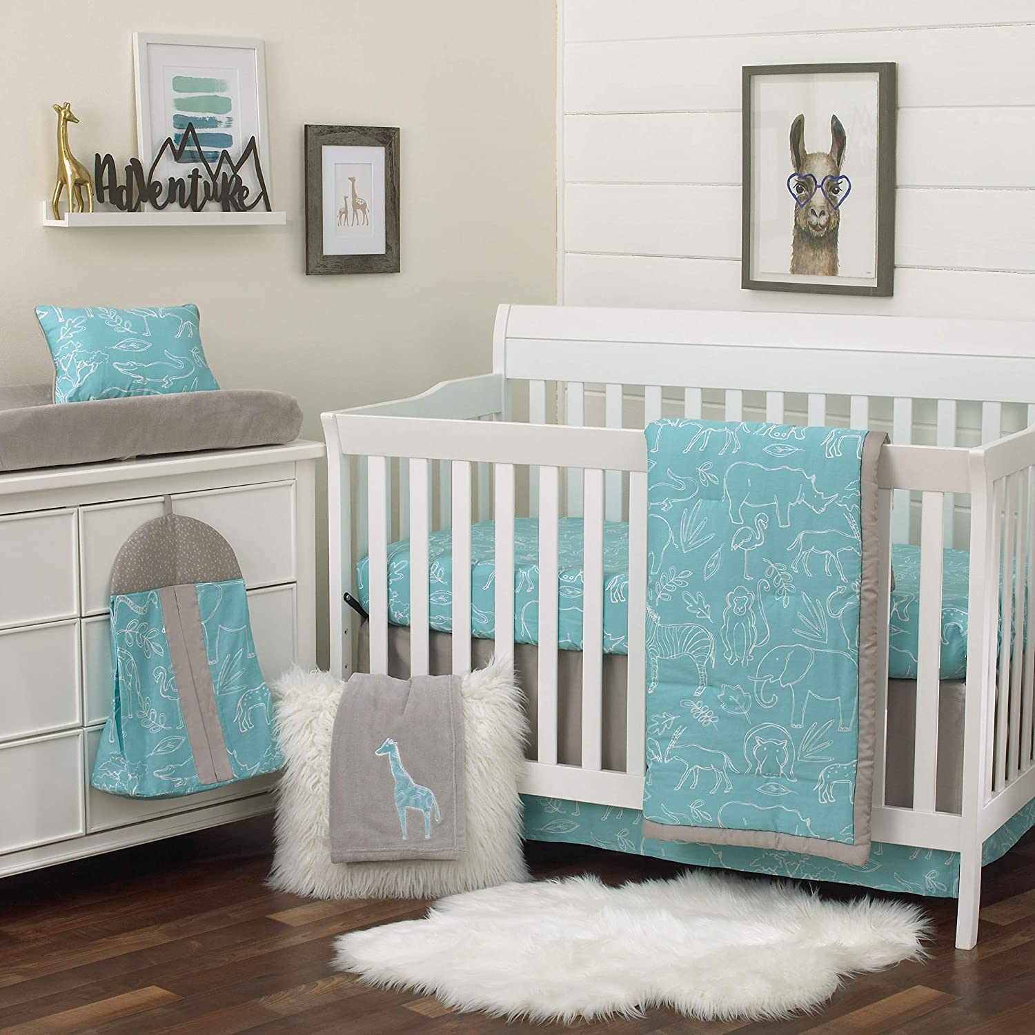 NoJo Dreamer Modern Safari Blue 8 Piece Nursery Crib Bedding Set, Turquoise/Grey