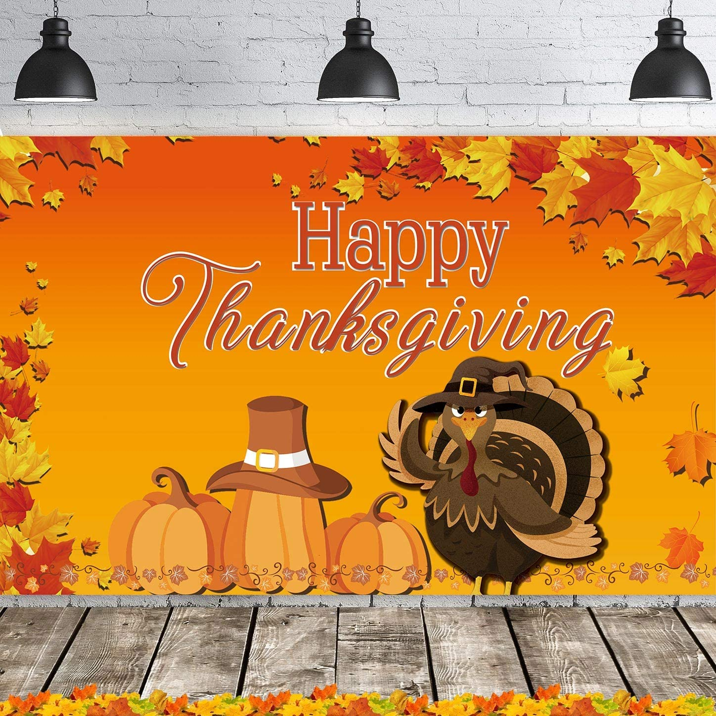 Fecedy Happy Thanksgiving Hanging Extra Large Fabric Sign Poster Background Banner with Pumpkin Maple Leaves Turkey Pattern for Thanksgiving Day Autumn Harvest Decorations 43.3