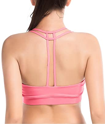 a76f332b0dbe8 YIANNA Women s Padded Sports Bra Light Support Corss Back Wirefree Workout  Gym Running Yoga Bras Pink