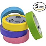 """Colored Masking Tape Set Features 90' Roll of 1"""" Wide Craft Tape for Kids and Adults (5 Pack) (Tropical, Five Rolls)"""