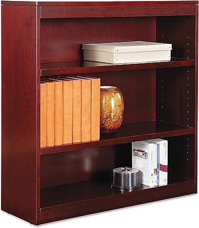 Alera Ale Square Corner Wood Veneer Bookcase Three Shelf 35 5 8 X 11 3 4 X 36 Mahogany Furniture Decor Amazon Com