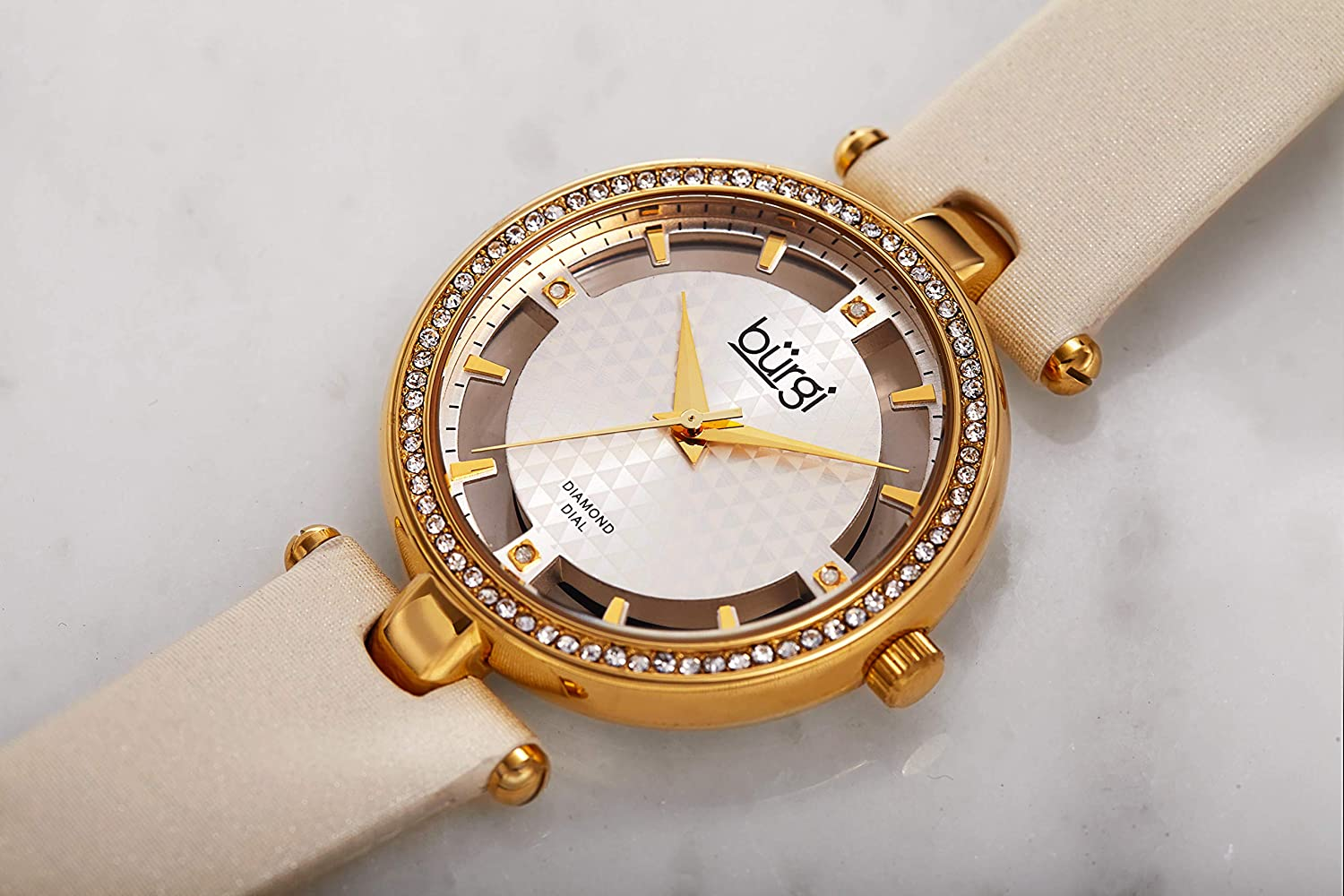 Burgi Swarovski Crystal Studded Watch - 4 Genuine Diamond Markers, See Through and Sunray Dial On Satin Over Leather Women's Watch - BUR104 Yellow Gold
