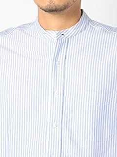 Oxford Band Collar Shirt 111-18-0078: Blue Stripe