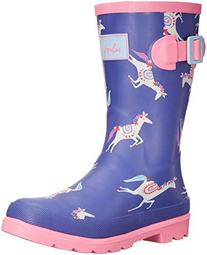 Joules Girls' Printed Welly Rain Boot, Pool Blue Carousel, 9 M US Toddler