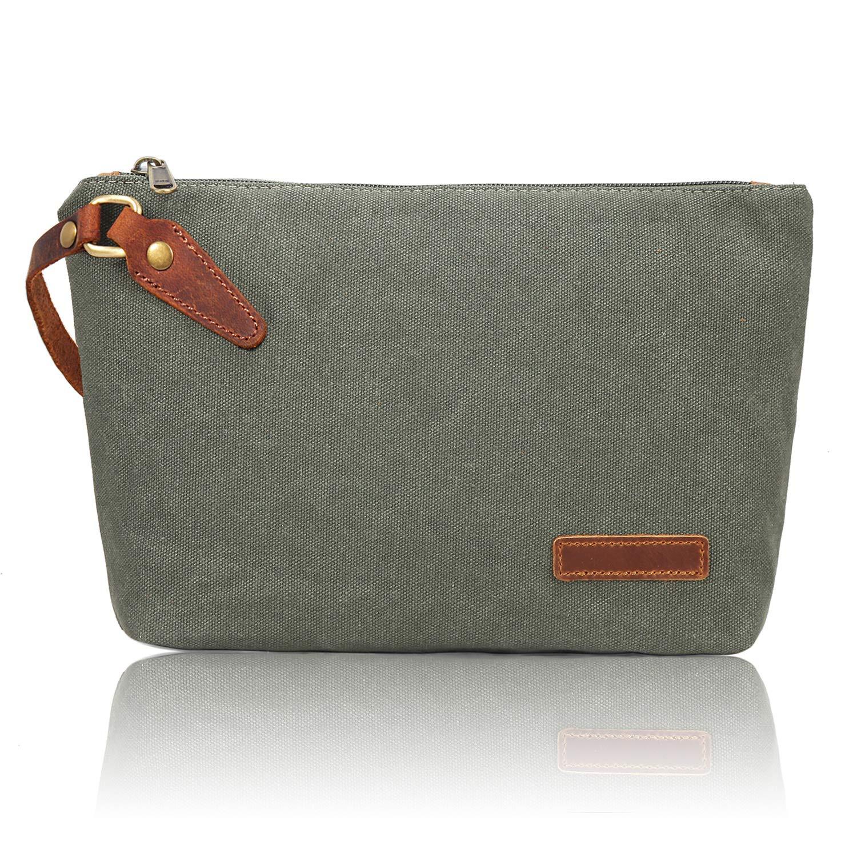 Zeamoco Canvas Wristlet Bag Clutch Wallet Makeup Pouch Zipper Purse Handbag Travel Kit Organizer with Leather Strap – Green