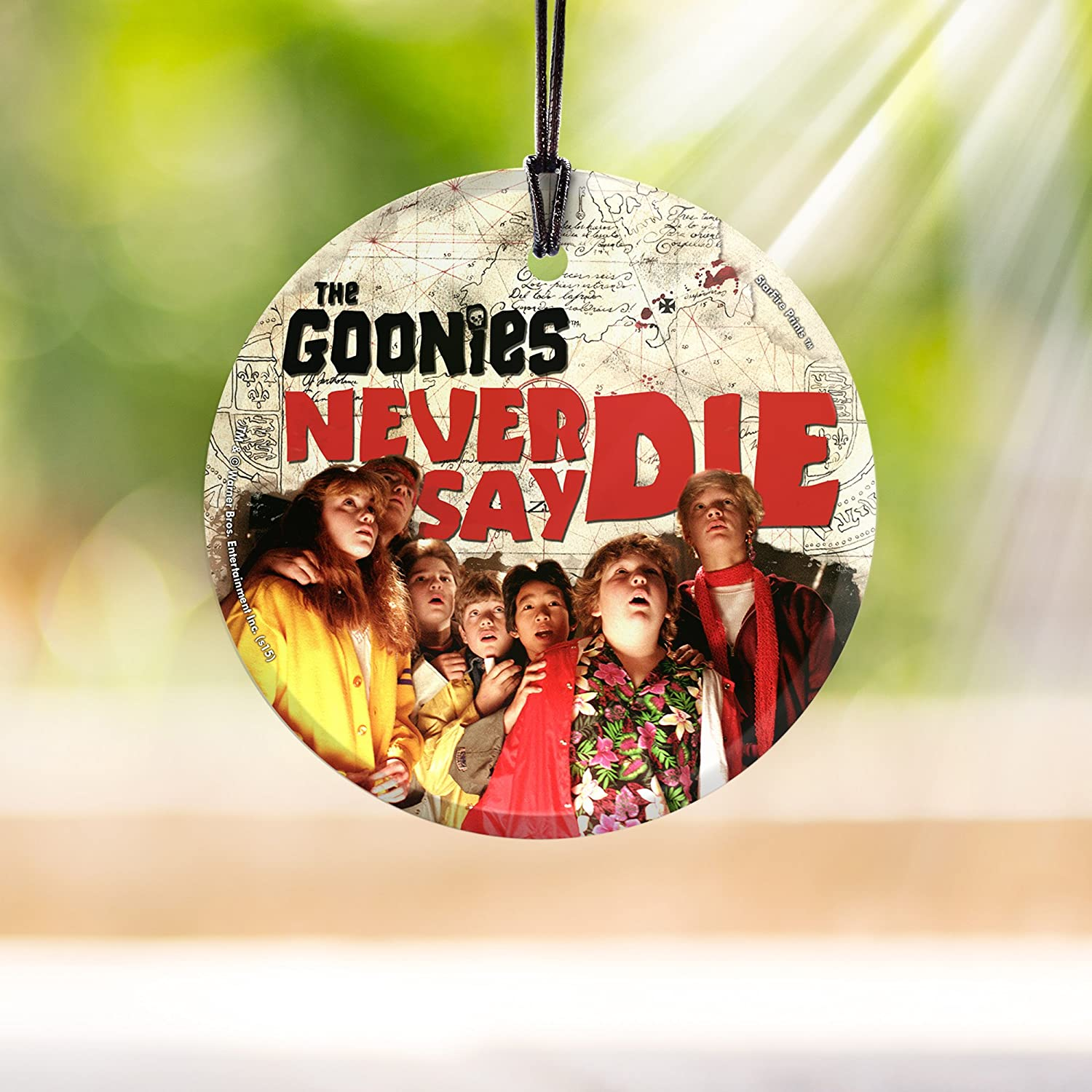 Trend Setters Goonies Never Say Die Starfire Prints Hanging Glass Decoration Ideal Decoration For Gifting And Collecting Home Kitchen