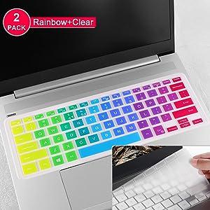 Keyboard Protector Skin Cover for Dell Inspiron 14-3442,14-3446,14-3447,14-3451,14-5447,14-5448,14-5458,14-7447,15-7558,i3442,i3446,i3447,i3451,i5447,i7447,i7558,Inspiron 15 7573(Rainbow+Clear)