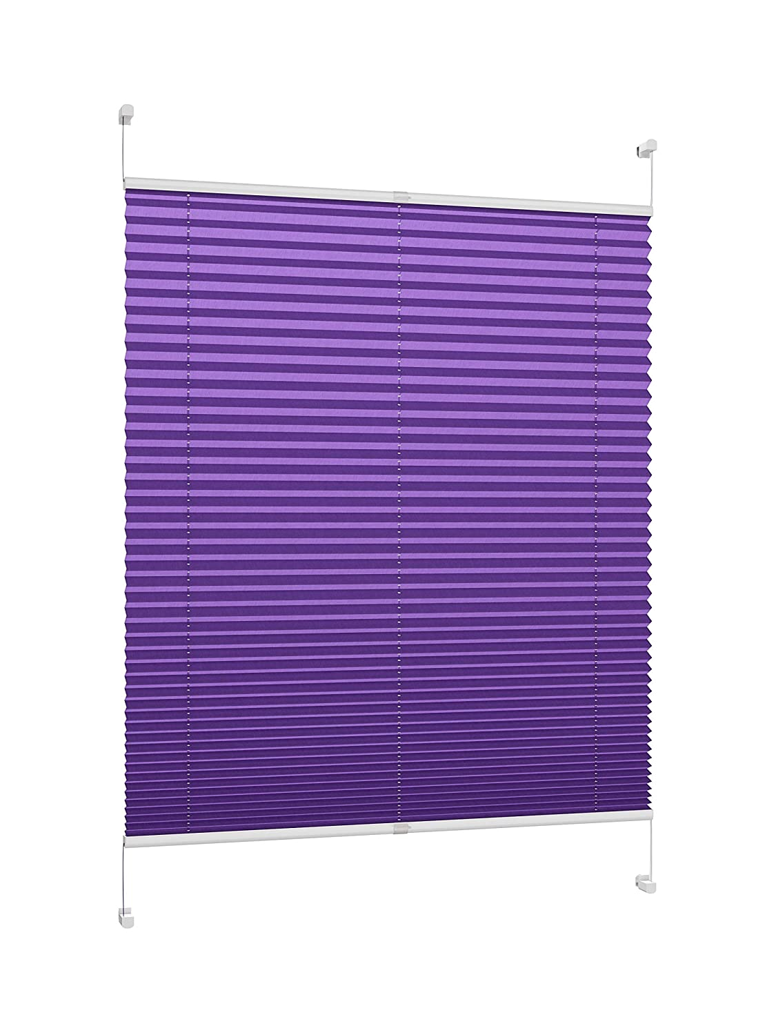 DecoProfi Pleated Tension Blinds, Purple, Width 35 x 130cm (Max. Total Height of Window Casement) with Clamp Supports/Clamp Fixings/No Drilling PL03035130